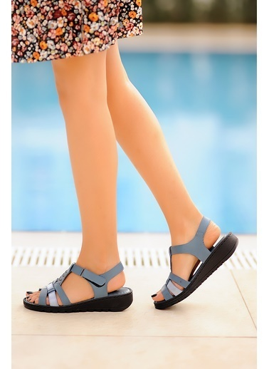 Pembe Potin A017-20 Kadın Sandalet Mavi